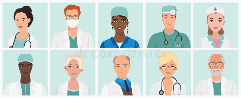 Doutores e avatars das enfermeiras ajustados Ícones do pessoal médico Ilustração do vetor ilustração do vetor