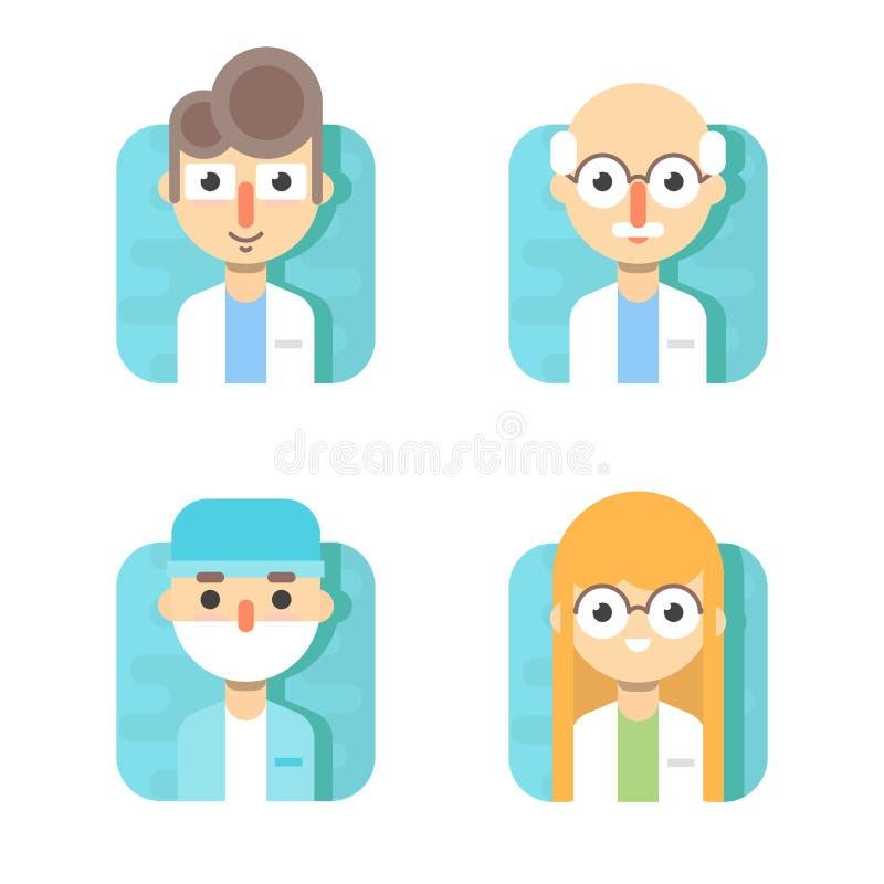 Doutores e o outro pessoal hospitalar: doutor, terapeuta, cirurgião e otolaryngologist gerais ilustração do vetor