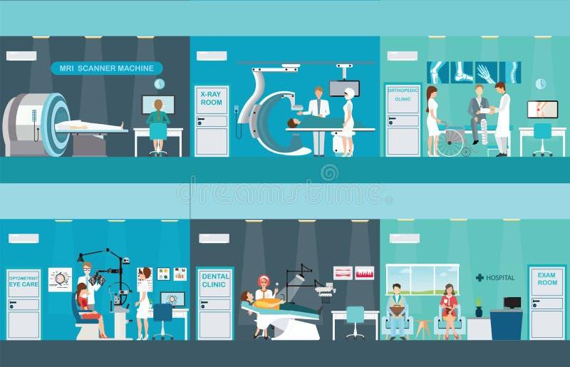 Doutores e pacientes nos hospitais ilustração do vetor