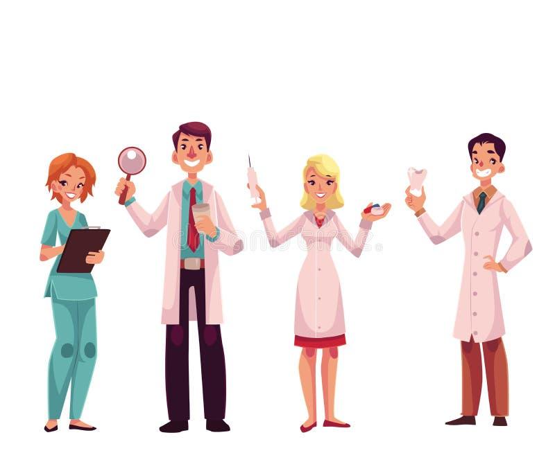 Doutores - enfermeira, cirurgião, médico geral e dentista ilustração do vetor