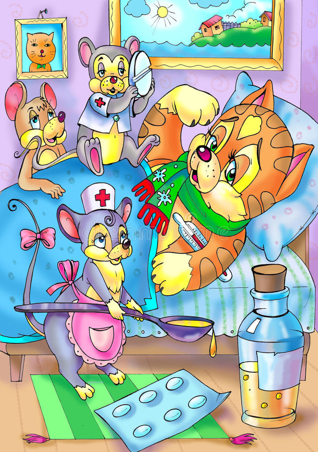 Doutores, enfermeira e o paciente ilustração royalty free