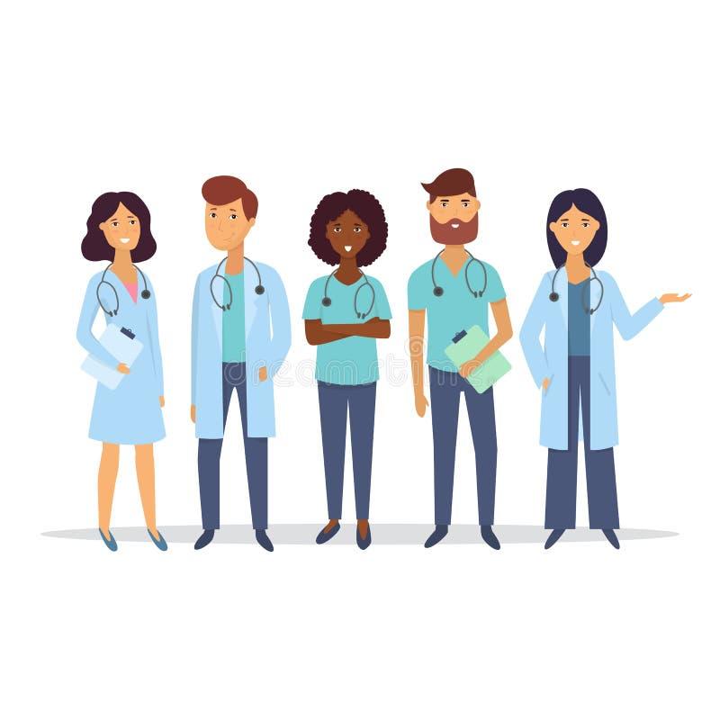 doutores Equipe de funcionários médica Conceito da equipa médica Caráter liso dos povos do projeto Vetor ilustração do vetor