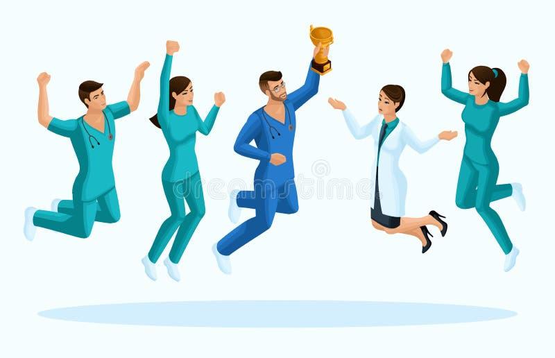 Doutores Isometry, 3D da qualidade e uma enfermeira, salto, alegria a felicidade de pessoais médicos, para anunciar conceitos ilustração do vetor