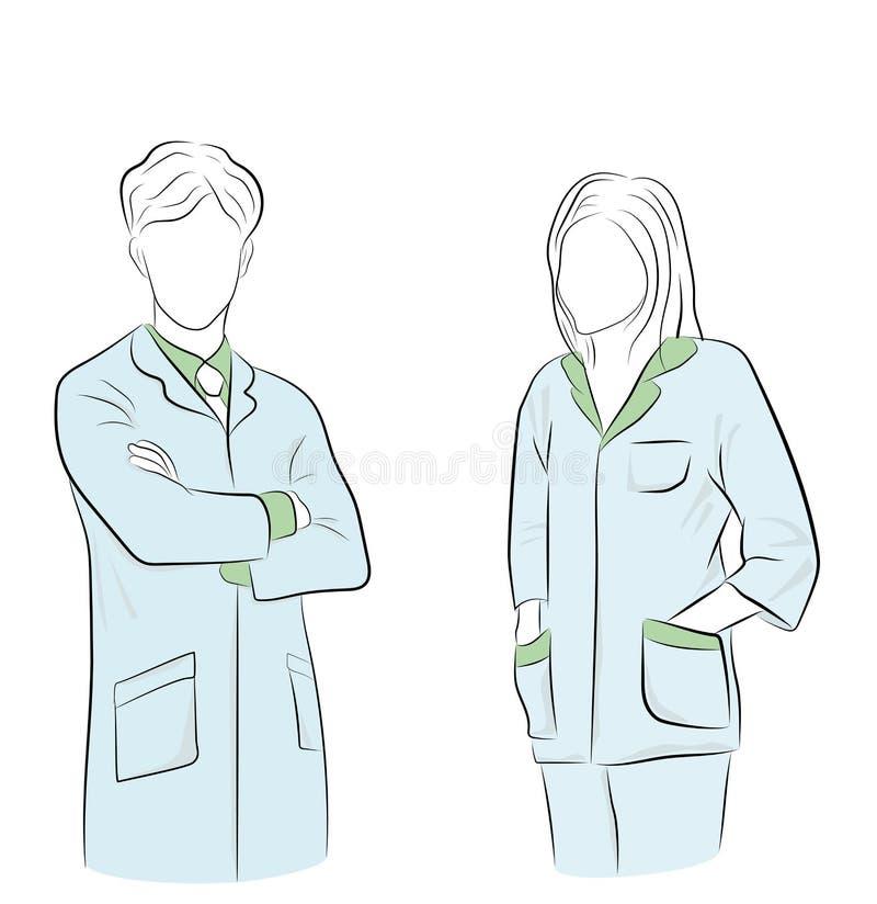 Doutores masculinos e fêmeas ilustração médica do vetor do dia ilustração royalty free