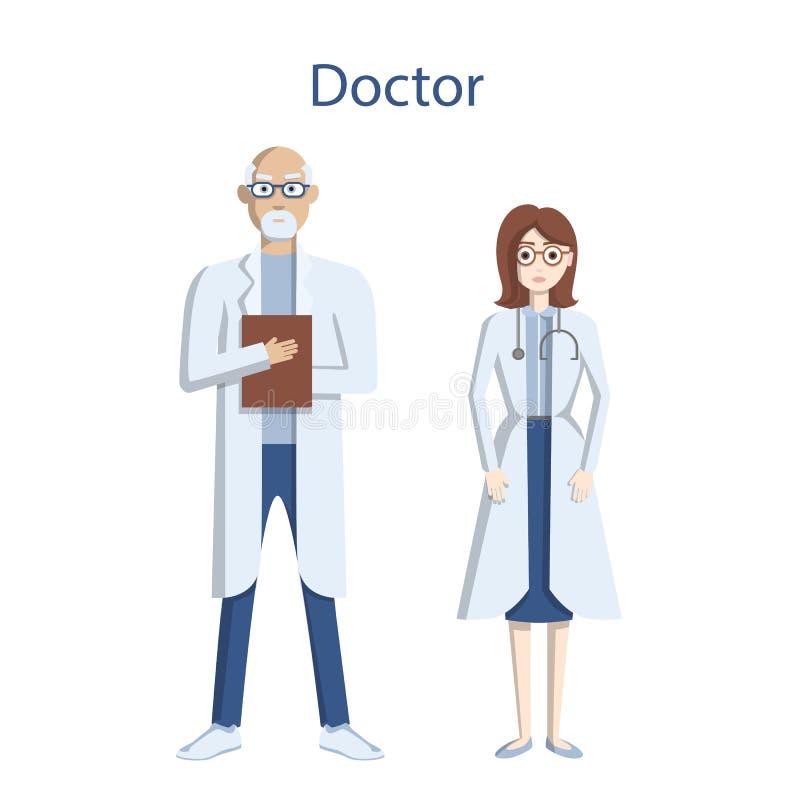 Doutores profissionais isolados ilustração royalty free