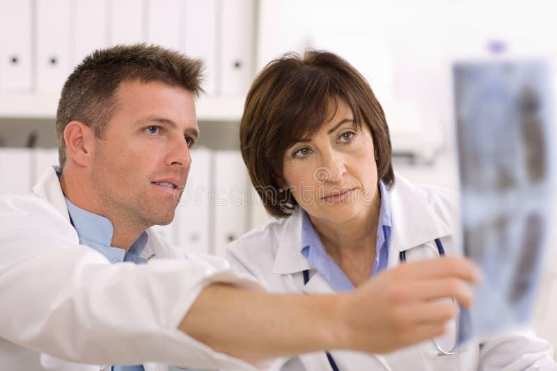 Doutores que olham a imagem do raio X fotos de stock royalty free