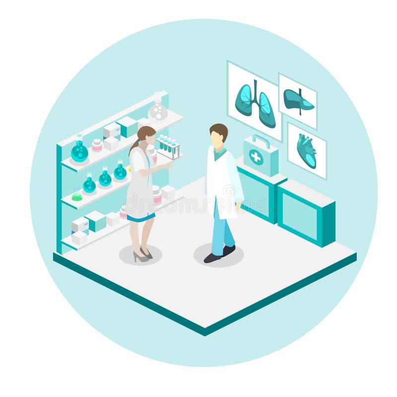 Doutores que tratam o paciente Ilustração 3d lisa ilustração do vetor