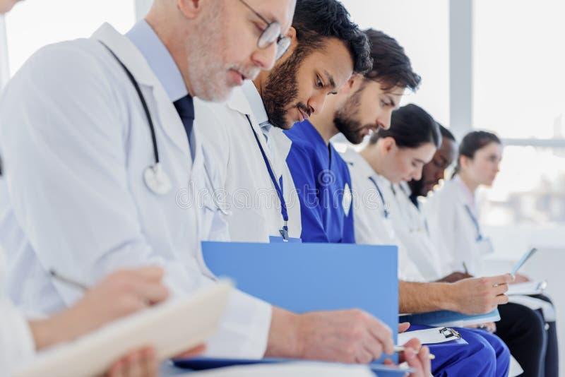 Doutores sérios que leem originais junto fotografia de stock