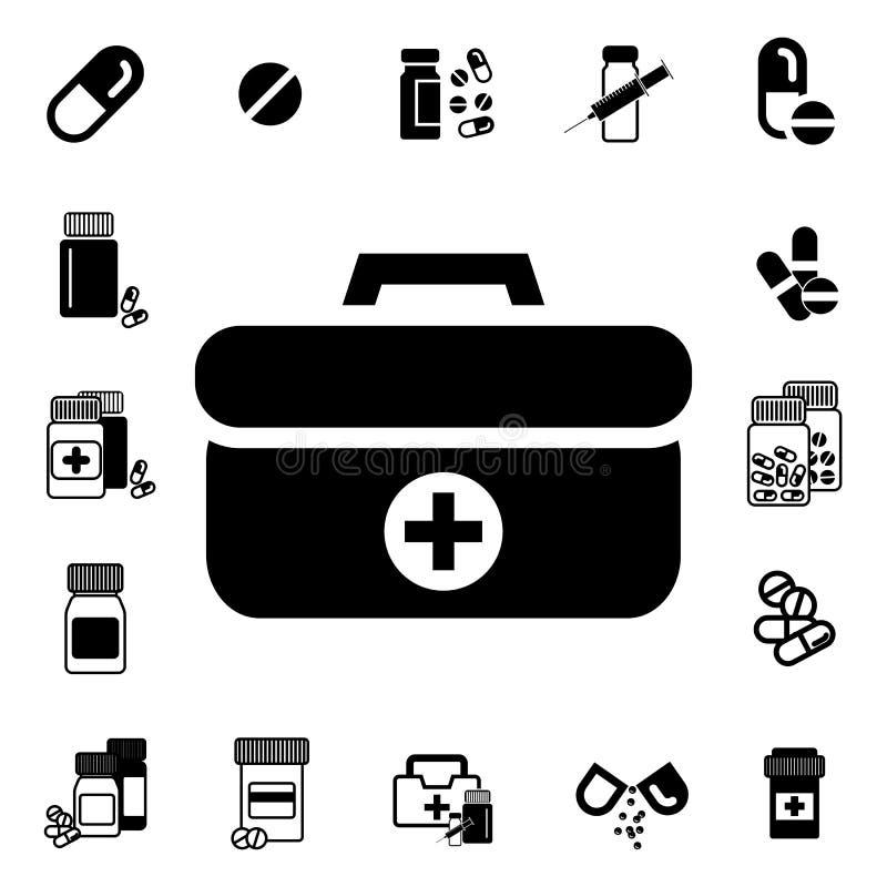 Doutores Saco com ícone transversal ou médico do vetor da mala de viagem ilustração do vetor