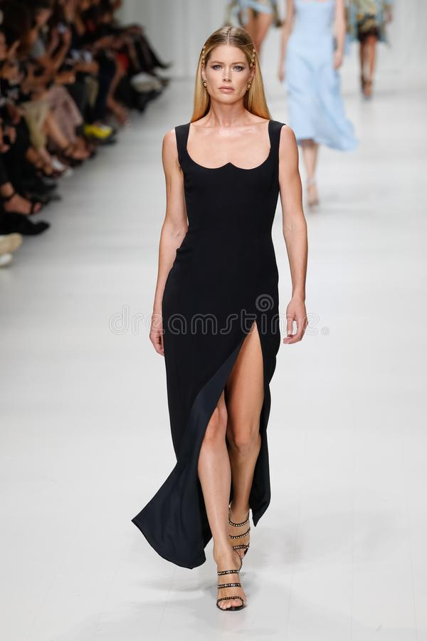 Doutzen Kroes walks the runway at the Versace show during Milan Fashion Week Spring/Summer 2018 stock image