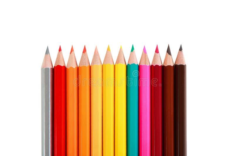 Douzaine de crayons de couleur photo stock