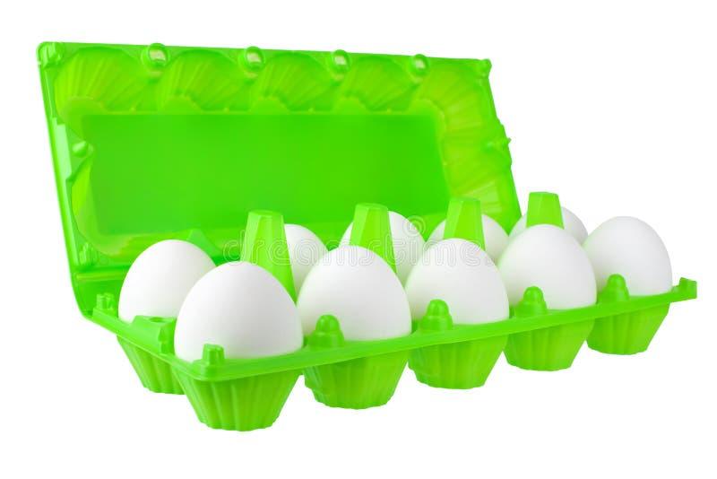 Douzaine oeufs blancs en paquet en plastique vert ouvert sur la fin d'isolement par fond blanc vers le haut de la vue de côté photographie stock libre de droits