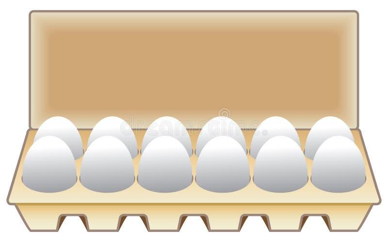 Douzaine oeufs dans un carton illustration de vecteur