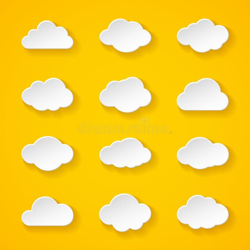 Douze nuages de livre blanc avec différentes formes illustration stock