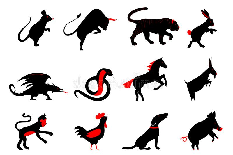 Douze symboles lunaires d'horoscope de zodiaque d'année chinoise illustration stock