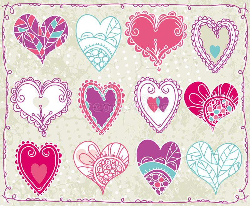 Douze valentines coeur, vecteur illustration stock