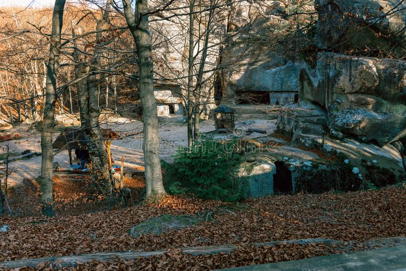 Dovbush Rocks Ukraine landscaped photos of autumn, trees without leaves stock photo