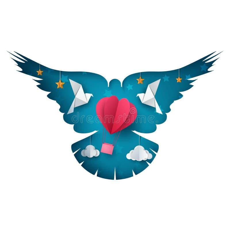 Dove, air balloon illustration. Cartoon paper landscape. royalty free illustration