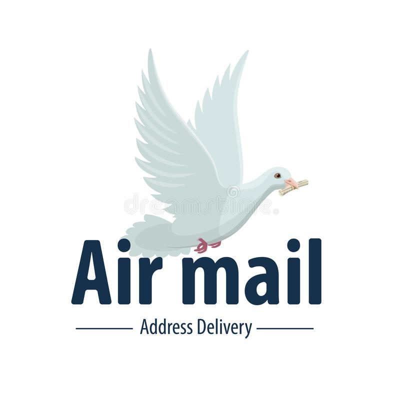 Dove bird air post mail delivery vector icon royalty free illustration