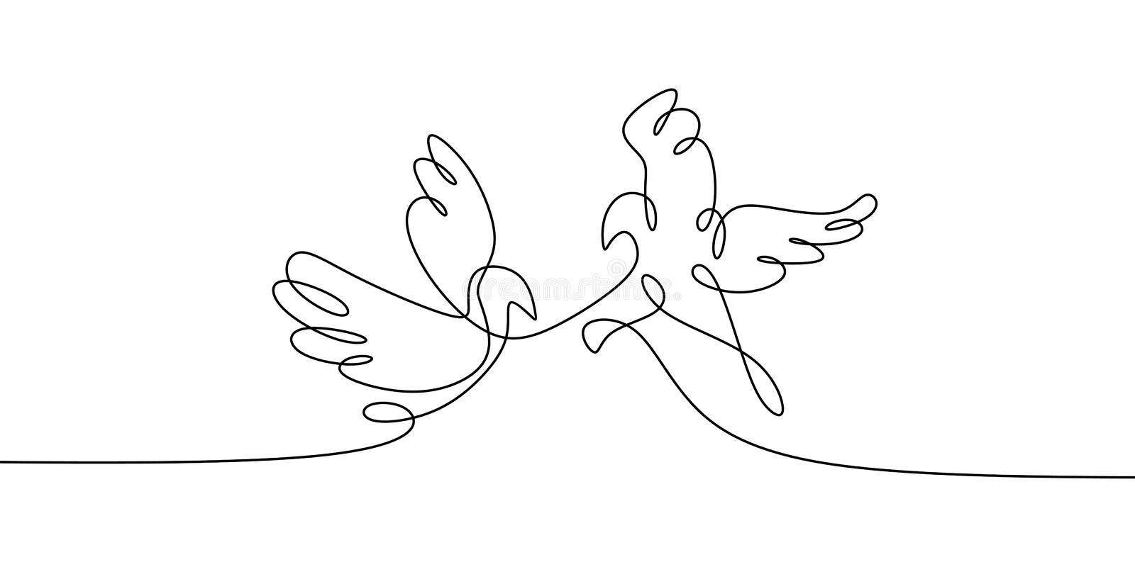 Dove bird. Concept of Two birds one line continuous line drawing vector illustration minimalist design. Modern isolated doodle love silhouette symbol linear royalty free illustration