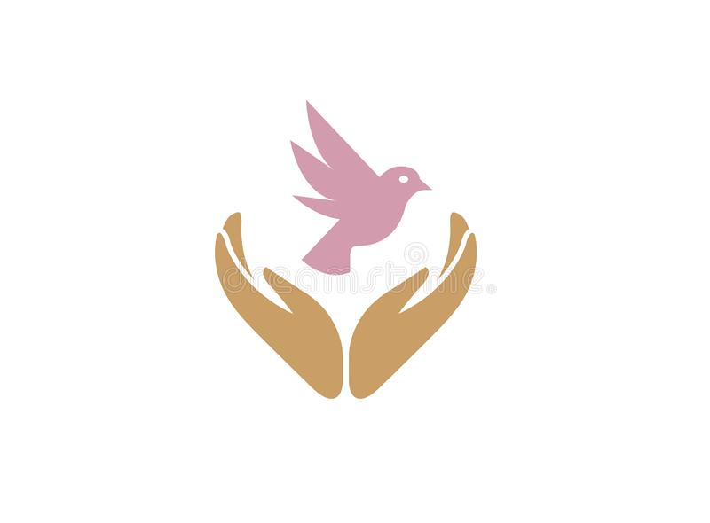 Dove bird between hands care human health and nature for logo design vector illustration