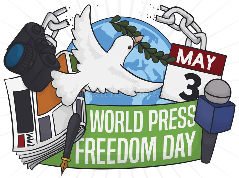 Dove Breaking Chains to Commemorate World Press Freedom Day, Vector Illustration royalty free illustration