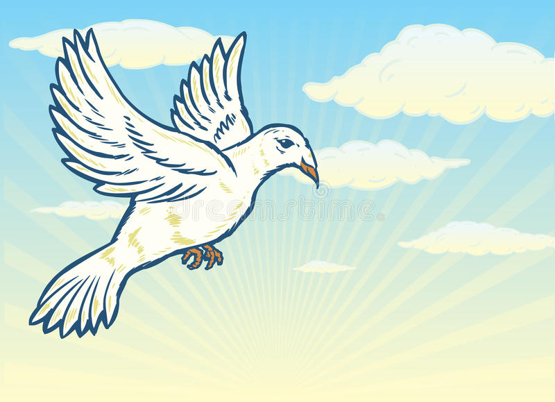 Dove in flight against a bright blue sky