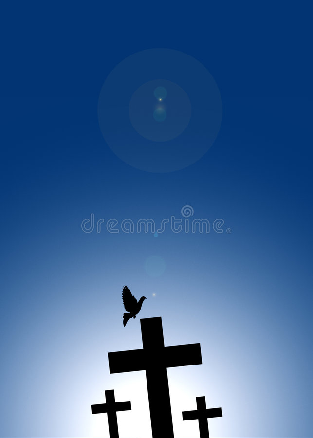 Dove flying on jesus cross royalty free illustration