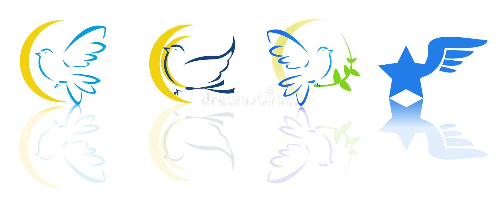 Dove and flying logos vector illustration