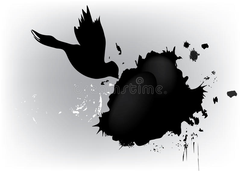 Dove and grunge blot. Decoration with place for text vector illustration
