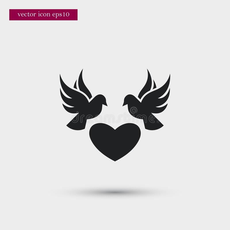 Dove icon. Simple romance element illustration. Valentine symbol design from love collection. Can be used in web and mobile stock illustration