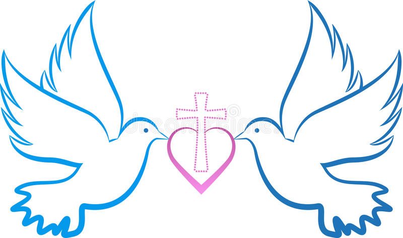 Dove love cross royalty free illustration