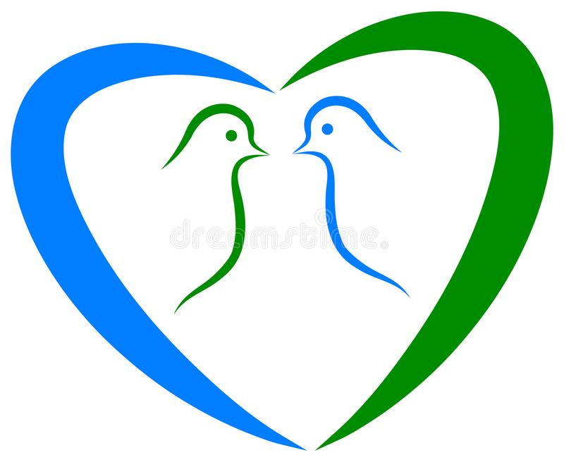 Dove love with heart symbol vector illustration