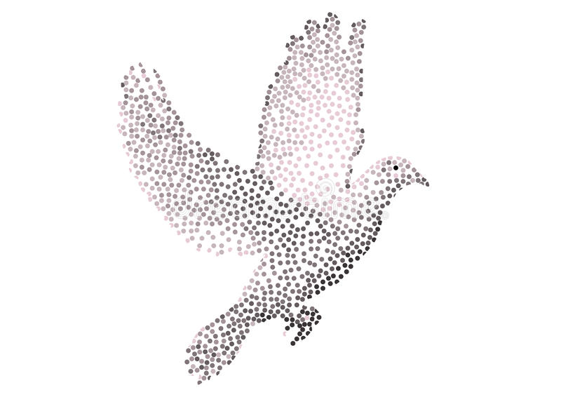 Dove. Made from dots, symbolizing peace vector illustration