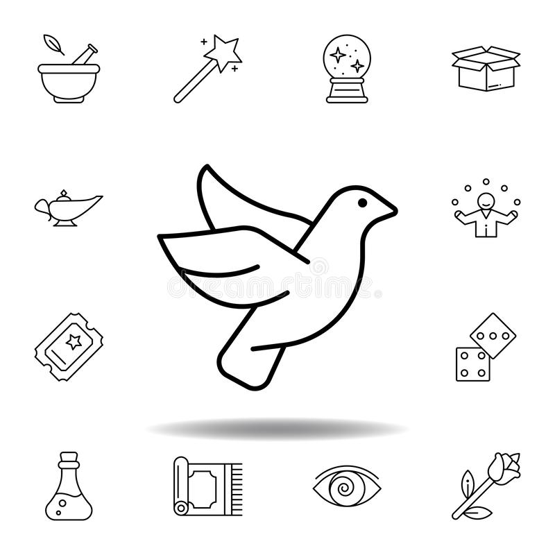 Dove magic animal outline icon. elements of magic illustration line icon. signs, symbols can be used for web, logo, mobile app, UI. UX on white background vector illustration