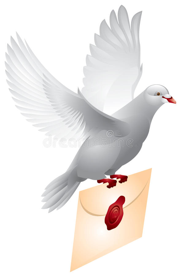 Dove mail, Flying pigeon royalty free illustration