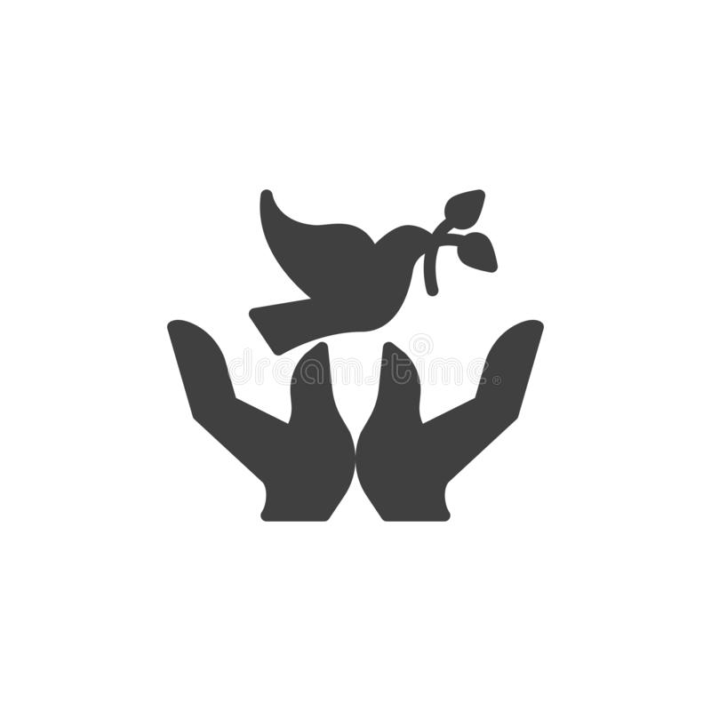 Dove with olive branch and hands vector icon vector illustration