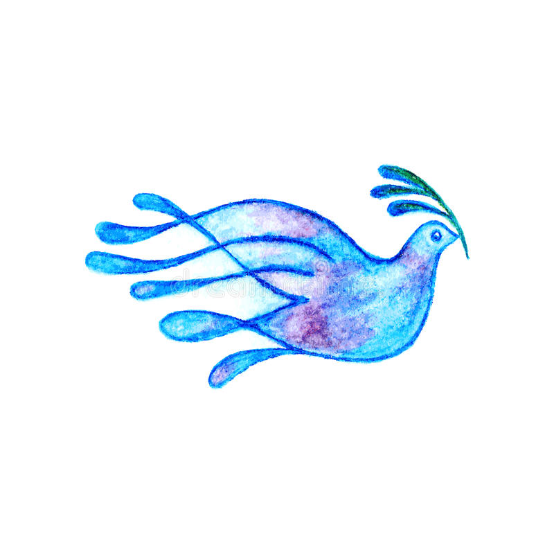 Dove with olive branch watercolor pencils drawing. Dove with olive branch peace symbol watercolor pencils drawing royalty free illustration
