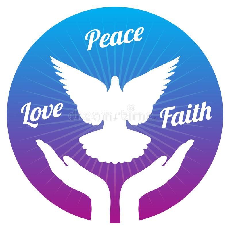 Dove peace flying from hands in sky. Love, freedom and religion faith vector concept royalty free illustration