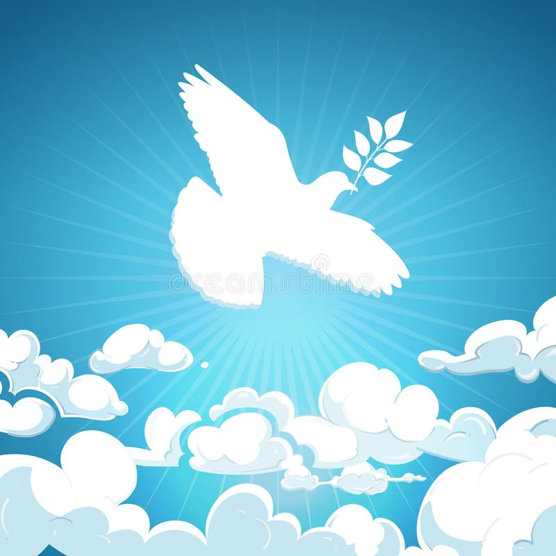 Dove of peace flying in the sky. White pigeon with branch background concept stock illustration