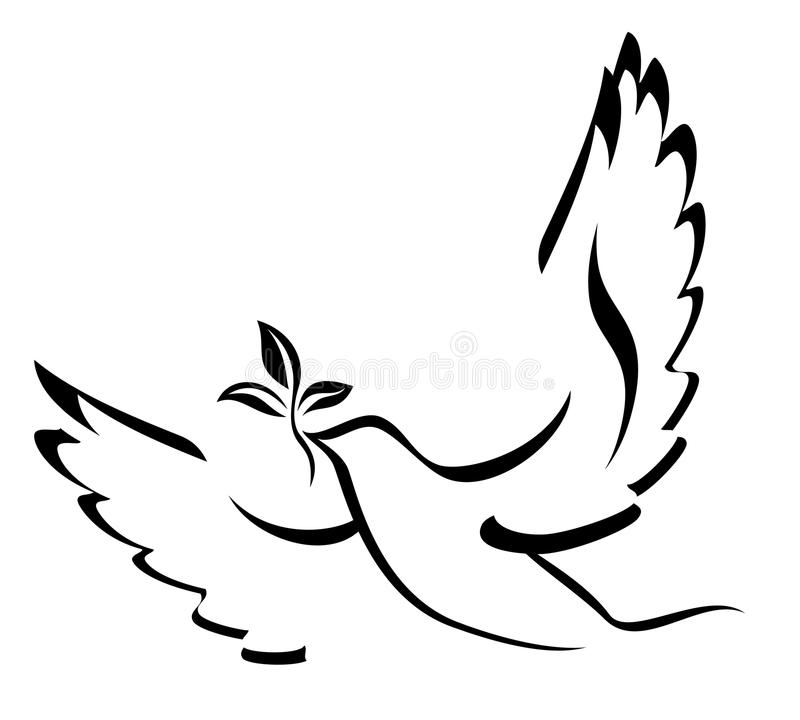 Dove Of Peace. Illustration with dove holding an olive branch symbolizing peace on earth. Hand drawn brushstroke dove. Ink painting style. Line art for logo and