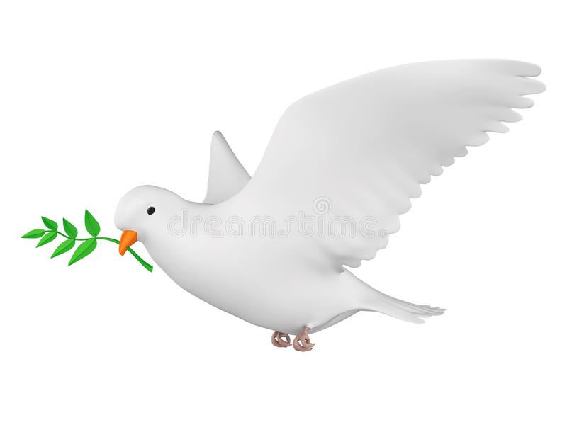Dove of Peace Isolated. On white background. 3D render vector illustration