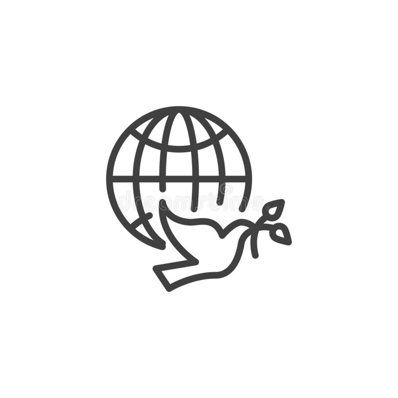Dove of Peace line icon royalty free illustration