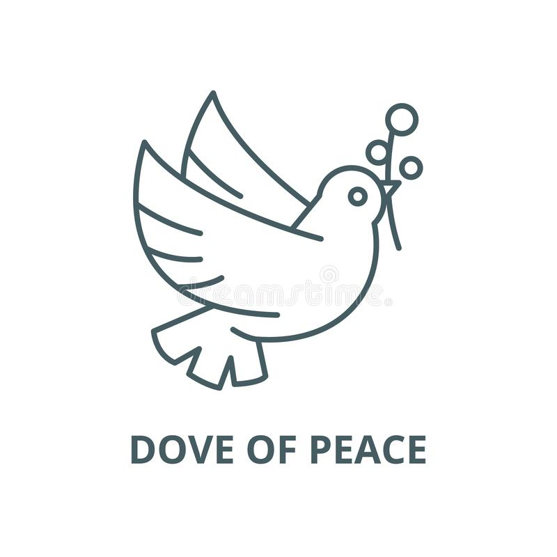 Dove of peace line icon, vector. Dove of peace outline sign, concept symbol, flat illustration royalty free illustration