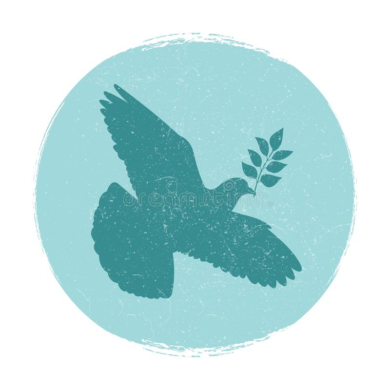 Dove of peace logo design. Pigeon silhouette with branch stock illustration