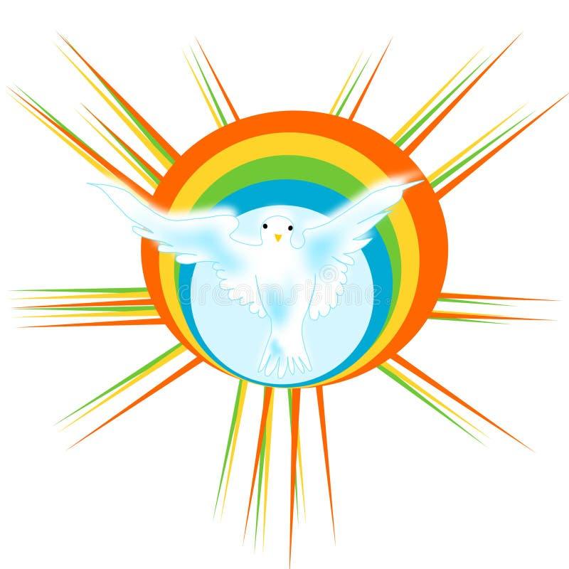 Dove with rainbow stock image