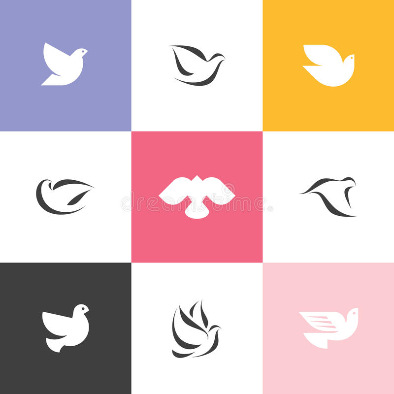 Dove. Set of elegant vector icons and logos royalty free illustration