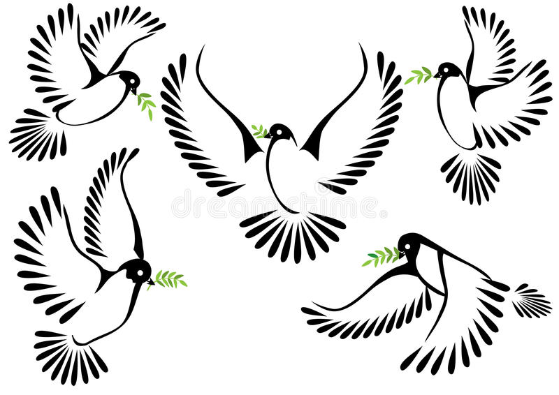 Dove symbol of peace and freedom.  stock illustration