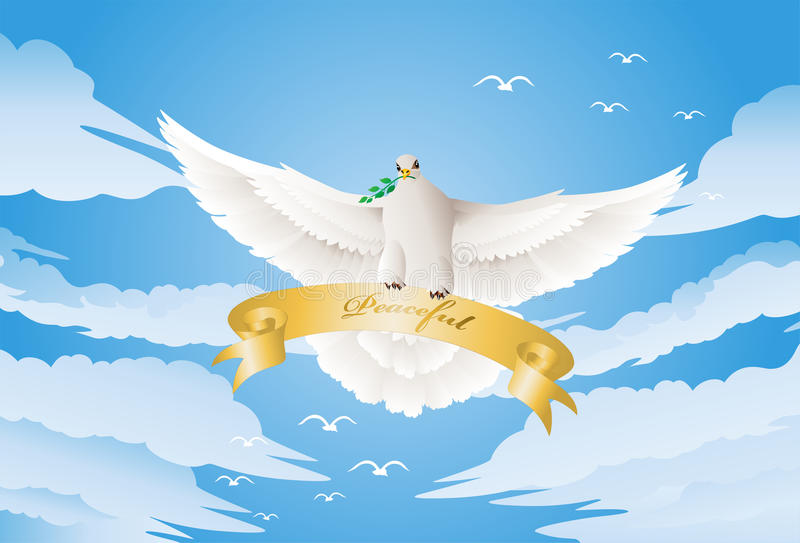 Download Dove with a twig stock illustration. Illustration of idea - 32473880