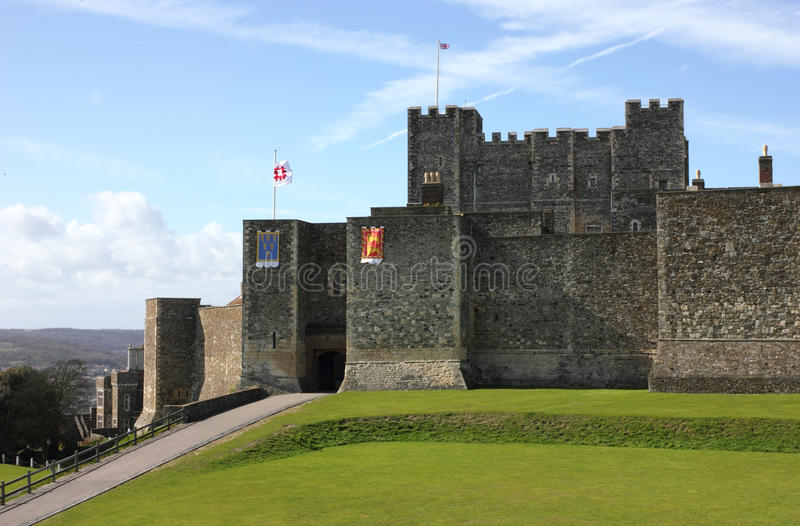 Dover Castle in Kent county distant shot stock images